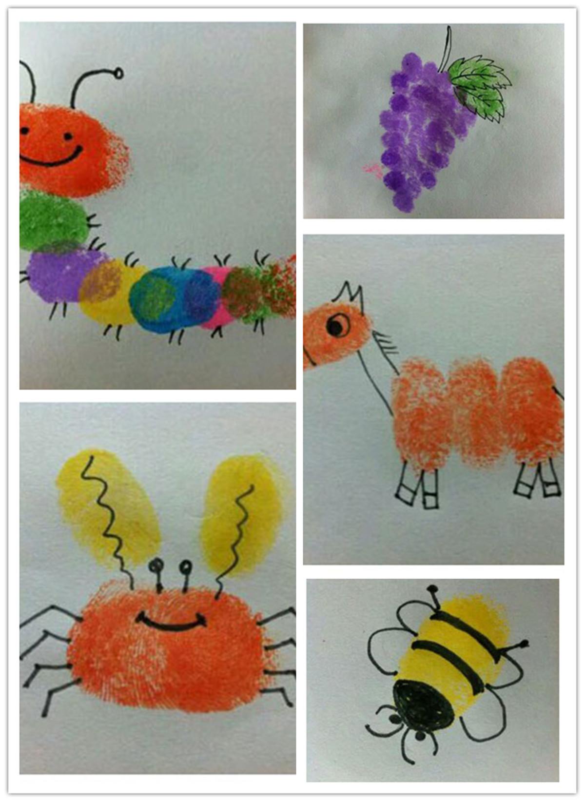 指纹画活动作为艺术领域中美术活动的一种创作方式,需要幼儿大胆地想象,创造性用指纹印画、添画来完成。大班的孩子的想像绘画能力已有了很大的提高,他们喜欢自己来创作画面,并运用多种表现形式来表现自己对美的感受。